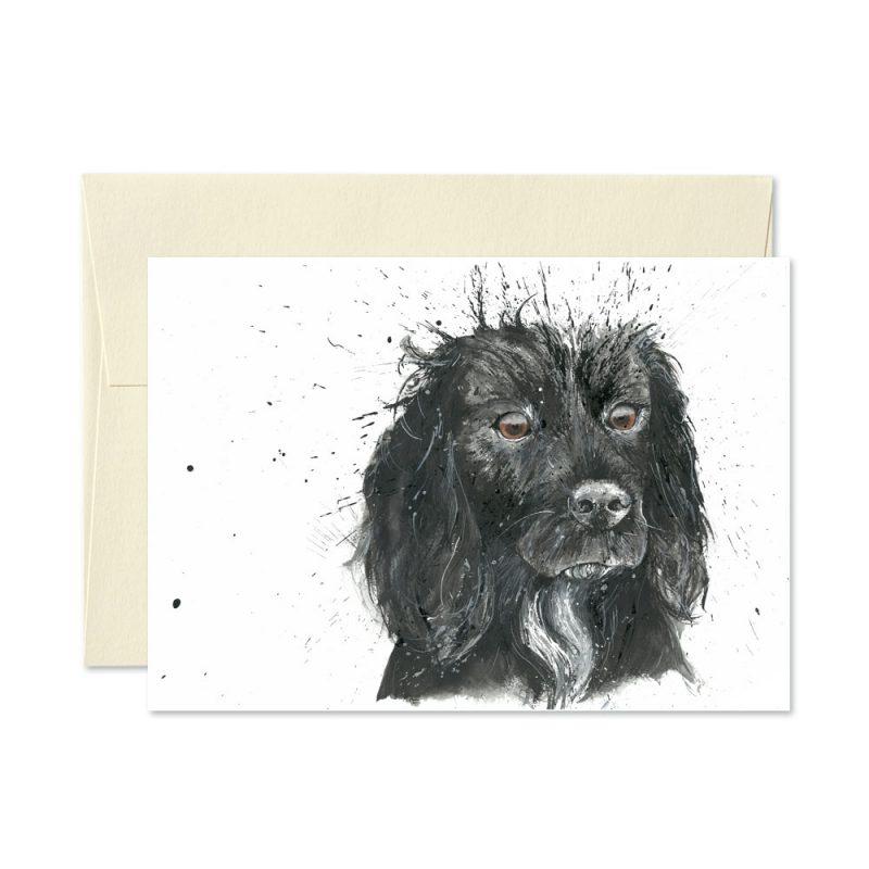 Black Cocker Spaniel Greetings Card