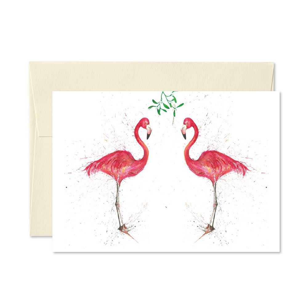 Flamingo Christmas Cards.Flamingo Christmas Cards Pack Of 5