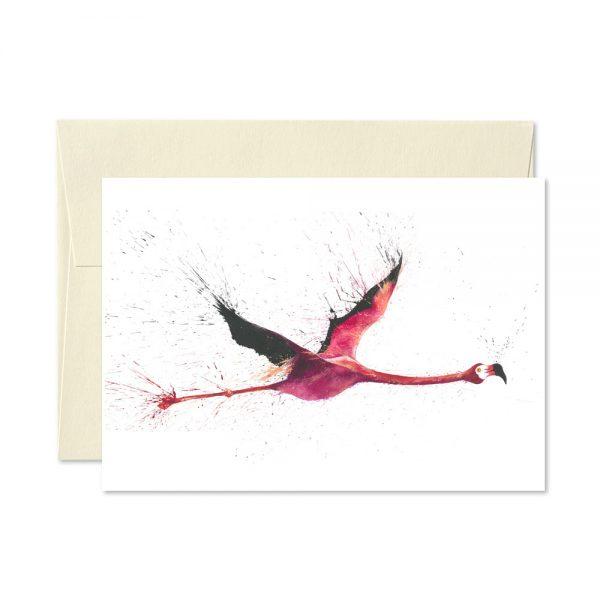 Flamingo Flying Greetings Card