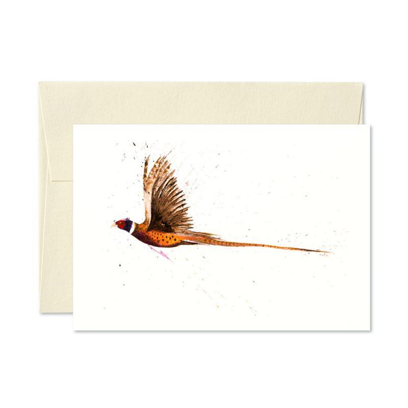Pheasant Flying Greetings Card
