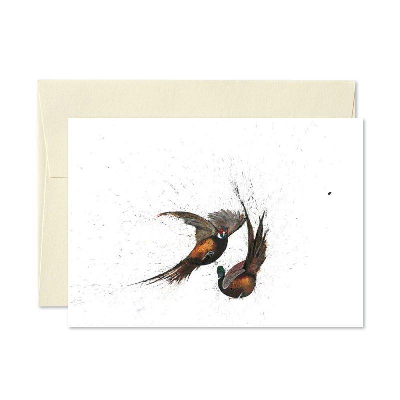 Pheasants Fighting Greetings Card